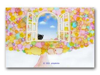 「ねえ~げんきしてる?」猫 木 青空 ほっこり癒しのイラストポストカード2枚組 No.1340の画像