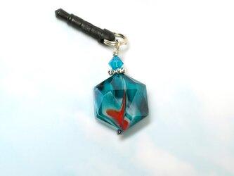 マーブルカットガラスのイヤホンジャック *ブルーの画像