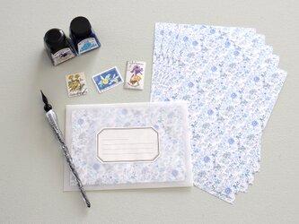 レターセット 青い小花模様の画像
