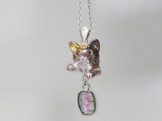 バイカラートルマリン猫ペンダントb グリの画像