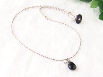 Black Pear Shaped Pendant(モリオン×淡水パール)の画像