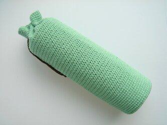 かぎ針編み水筒カバー 青緑 300mlの画像