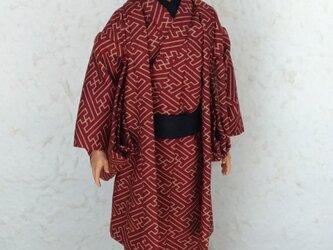 「紗綾型…赤」29cm男子ドール着物と羽織りの画像