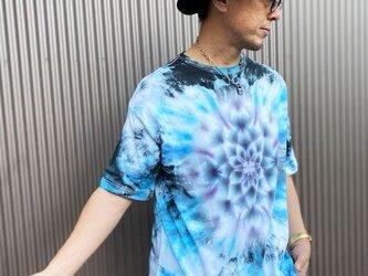 タイダイ染め ビッグシルエット Tシャツ XLサイズ 曼荼羅 ブルー×ブラック  Hippies Dye HD13-74の画像