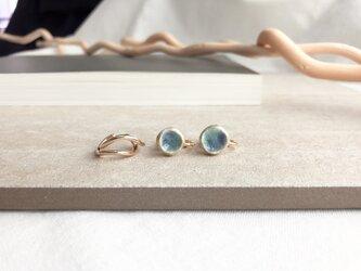 陶のイヤリングとイヤーカフセット / blueの画像