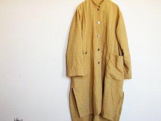 リネン・フラットマオカラー・ロングテールコートドレスの画像