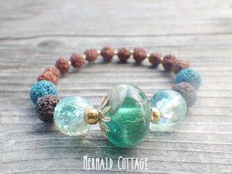 Under the Sea* Lava Stone Diffuser Bracelet ルドラクシャ☆アロマブレスレットの画像