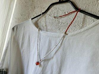 *happy sale*古のネックレス赤×白@オールドビーズいろいろとカレンシルバーの画像