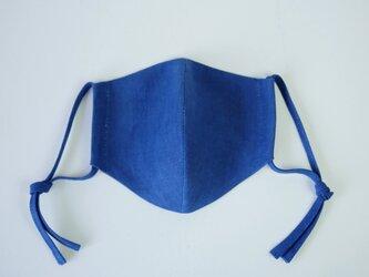 【女性用】エシカルヘンプフェイスマスク カレン族藍染め藍色の画像