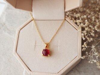 【14kgf】宝石質ルビーの一粒ネックレス(ラウンド)*7月誕生石の画像
