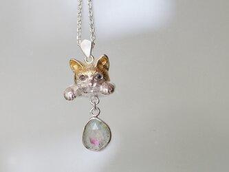 バイカラートルマリン猫ペンダントa ラテュの画像