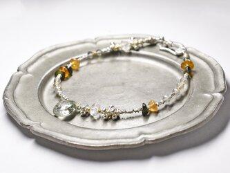ガーデンルチルクォーツとハーキマーダイヤモンド、ラブラドライト、トルマリンのブレスの画像