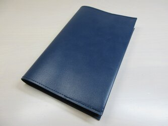 新書サイズ、コミック対応・ゴートスキン・ダークブルー・一枚革のブックカバー・0539の画像