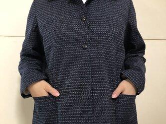藍染絣の着物リメイク ブラウスジャケット(A)の画像