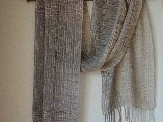 手織りコットンストール・・春色グレーⅰの画像