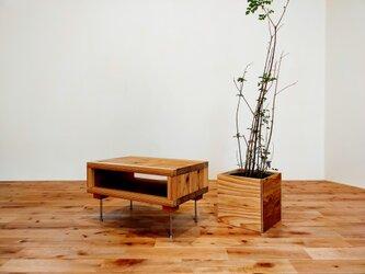 ■使い込むほど美しい杉のサイドテーブル500㎜×300㎜(M)/机/無垢/シンプル/アイアン/ローテーブル/テレビボードの画像
