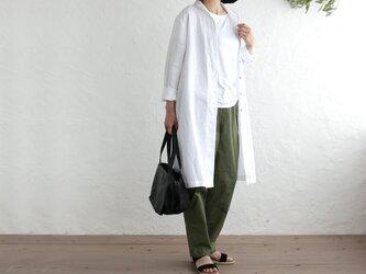 リネン ショールカラー 2wayシャツコート 羽織り (ホワイト)の画像