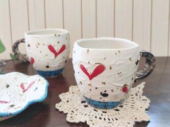 ハート柄のマグカップ かわいい 爽やかの画像