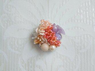 #60   刺繍ブローチ ミニ花束 ピンクの画像