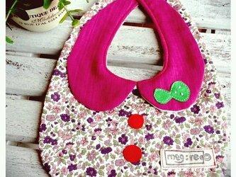 丸襟スタイ 上品花柄 ピンクパープル×グリーン蝶々の画像