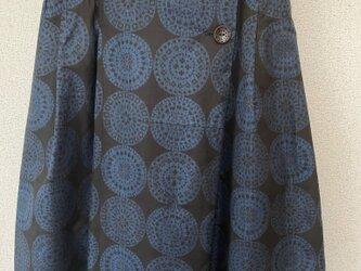 着物リメイク スカート 黒×青柄の画像