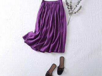 こだわりの着回しやすさと着やすさ リネン100% タックギャザースカート 紫 210401−3の画像