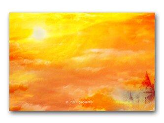 「どっさりの暗示がふりつもって」 夕日 ほっこり癒しのイラストポストカード2枚組No.1342の画像