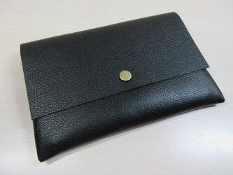 A6、お薬手帳、母子手帳対応・ゴートスキン・一枚革のマルチケース・カードポケット付き・0224の画像