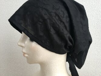 バンダナタイプのケア帽子  ブラックの画像