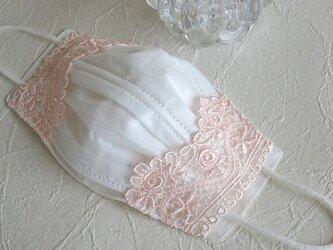リネン &高級エンブロイダリーレース 不織布マスクカバー 薔薇ピーチピンクの画像