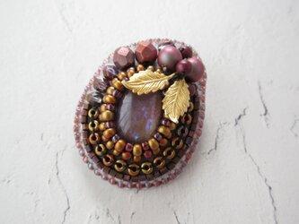 Brooch ビーズ刺繍 カボション 葉っぱ(K1026)の画像