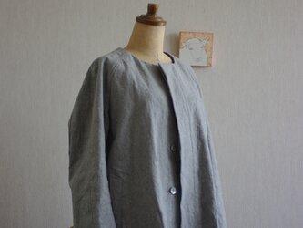 グレー色コート②綿麻キャンパスのショート丈68の画像