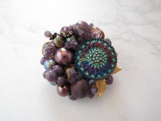 Brooch  チェコガラスボタン お花(K1028)の画像