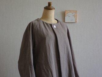 グレー色コート③綿麻オックスフォードのハーフ丈88の画像