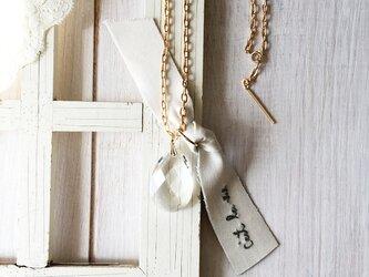 ヴィンテージシャンデリア ネックレス フランス名言刺繍 リボン / Ces...の画像