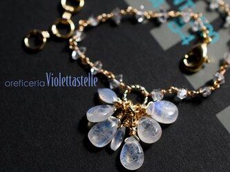 ブルームーンストーンのブレスレットwithハーキマーダイヤモンドの画像