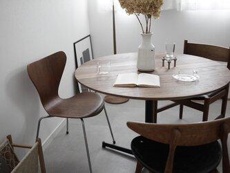 Round Table ウォールナット無垢材/ダイニングテーブル/直径100cm/ 丸テーブル/高さ指定可&脚カラー選択可の画像