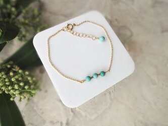 Fortune Ring Bracelet ■14kgf 天然石・誕生石■ グリーンターコイズ 12月の画像