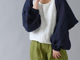 【wafu】リネン ボレロ 袖くしゅカーデ リネンカーディガン 先染め中厚/ネイビー h001f-neb2の画像