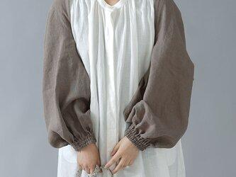 【wafu】リネン ボレロ 袖くしゅカーデ リネンカーディガン 先染め中厚/丁子茶(ちょうじちゃ) h001f-cja2の画像