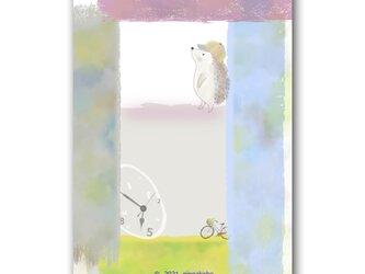 「空、ありがとう」 ハリネズミ ほっこり癒しのイラストポストカード2枚組No.1343の画像