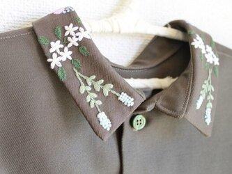 前後リバーシブルタイプのつけ襟〜緑のそよ風〜の画像