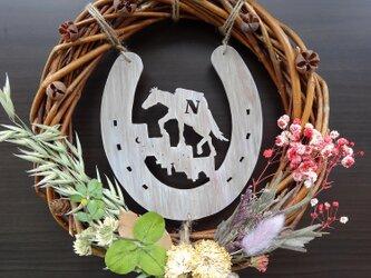 長崎の街と対州馬と蹄鉄のリース 1点もの~対州馬ひん太が食べていたオーツとクローバー使用の画像