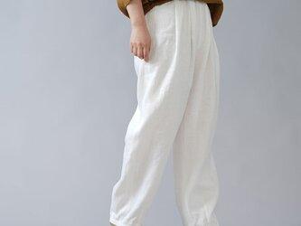 【wafu入門編】25限定! 透けます。 リネン 2タック ボールパンツ ポケットなし 中厚/ホワイト b010k-wht2の画像