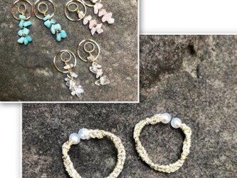 糸の宝石イヤーカフ(ゴールドフープ)※天然石3種から1点セレクト可能の画像