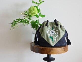 ミュゲ スカーフリネンマリンバッグ ブラック×カーキの画像