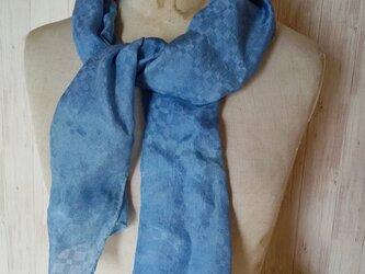 草木染め 光沢がきれいなシルクミニストール 格子柄 インド藍染め 藍染めの画像