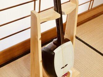 【24時間以内に発送】手作り木工 木製三味線スタンド (ナチュラル) 1本掛けの画像