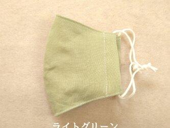 三枚仕立て☆小さめ立体マスク☆リネン100%☆ライトグリーンの画像