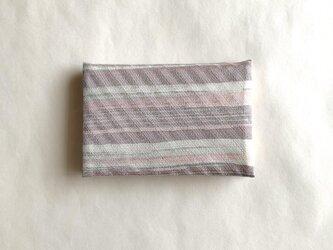 絹手染カード入れ(横・灰赤灰緑)の画像